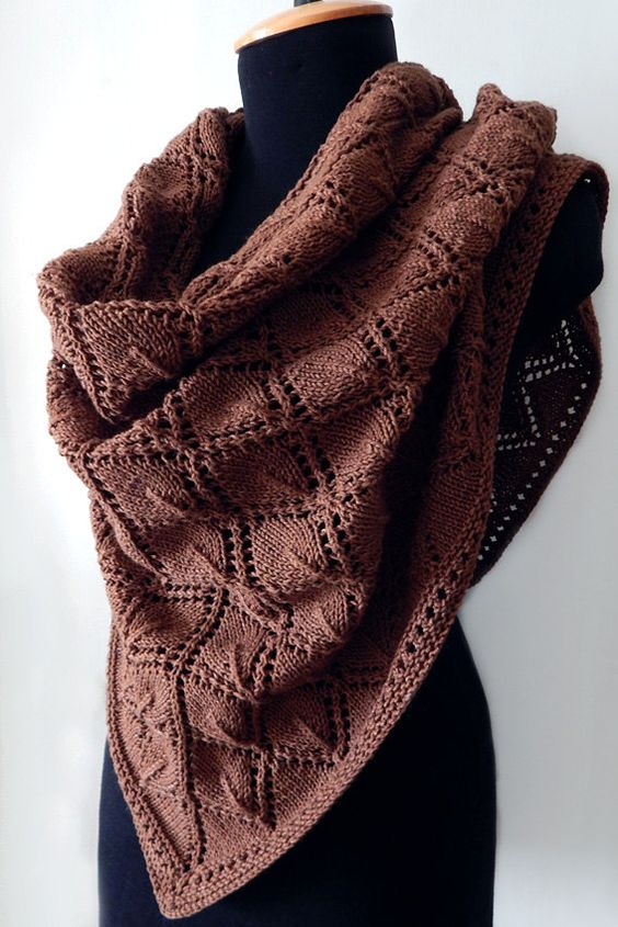 Knitted cotton summer shawl, brown lace shawl, knitted cotton brown wrap, knit accessory, woman scarf by SanniKnitting on Etsy