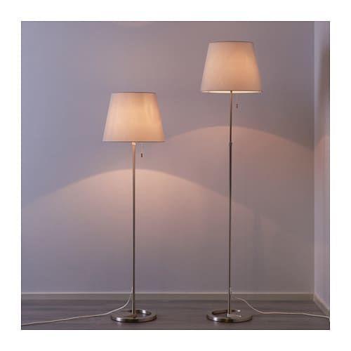 Nyfors Staande Lamp Vernikkeld Wit Lampen Vloerlamp Lampenkap