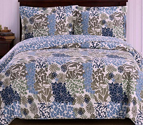 Tropical Hawaiian Blue Green Reversible Quilt Coverlet Set - Vibrant floral pattern for a tropical bedroom #floral bedding #tropical bedding