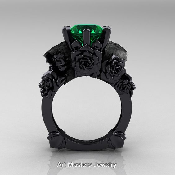 Love and Sorrow 14K Black Gold 3.0 Ct Emerald Skull and Rose Solitaire…