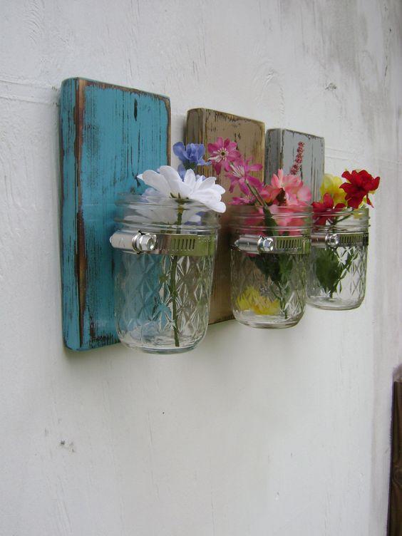 Shabby chic rustic wooden vases sconce mason jar wood vase wall decor cottage decor - set of ...