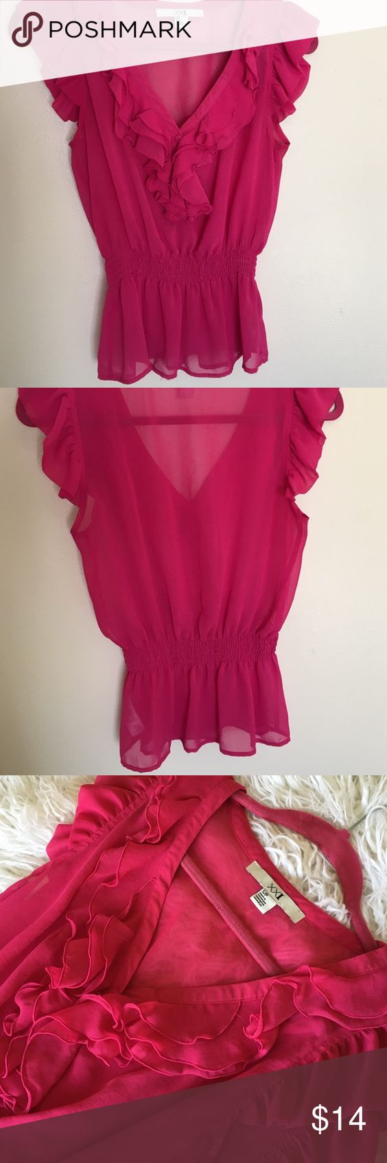 Hot pink blouse I love this shirt! The last picture shows the true vibrant pink color that it is. It sinches in the middle and gives you a great shape. It is in perfect condition. Forever 21 Tops Blouses