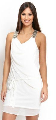 ROBBI & NIKKI Beaded Shoulder Tie Dress Color: Ivory Size: L, $49.99