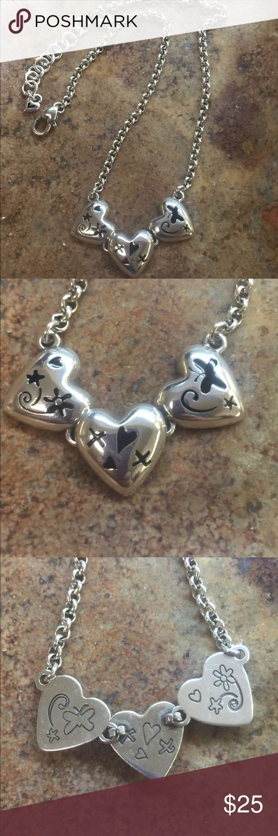 """Brighton three heart necklace 16-18"""" adjustable heart charm necklace. In great pre at owned condition Brighton Jewelry Necklaces"""