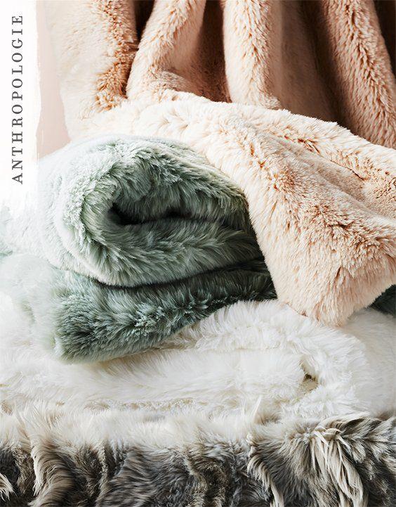 Fireside Faux Fur Throw Blanket Shop Anthropologie Gifts Fur
