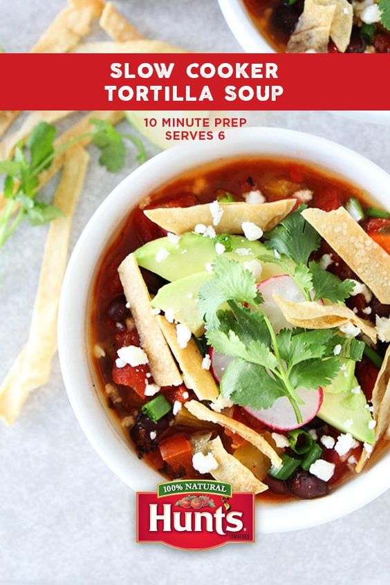 Go southwest with this Slow Cooker Tortilla Soup. Hunt's Fire Roasted Diced Tomatoes create the perfect base for this hearty winter warmer.