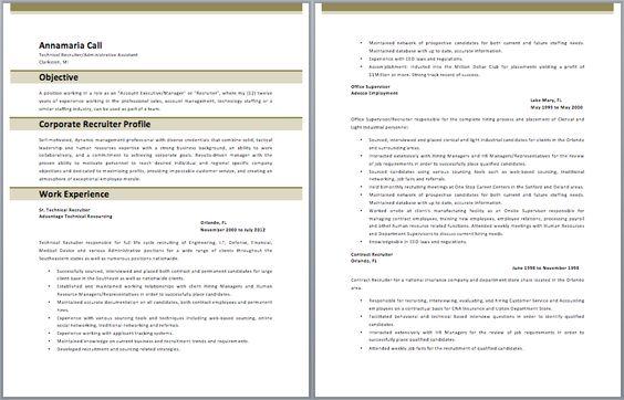 Corporate Recruiter Resume Recruiter Resume Resume Examples Resume Template Examples