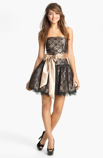 Jessica McClintock Strapless Lace & Tulle Dress | Nordstrom    lace over charmeuse with oversized charmeuse bow