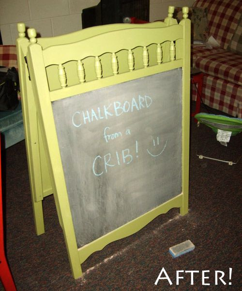chalkboard from a crib
