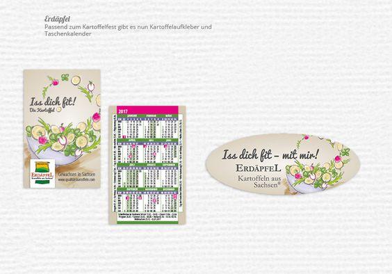 Taschenkalender und Kartoffelaufkleber