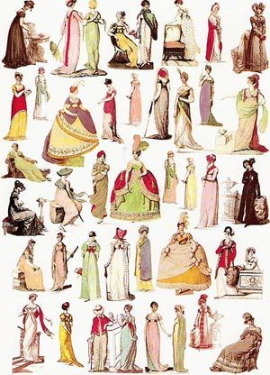 Gowns, gowns, gowns.  Card - Regency Costumes / Fashion - Various Designs Jane Austen Online Giftshop