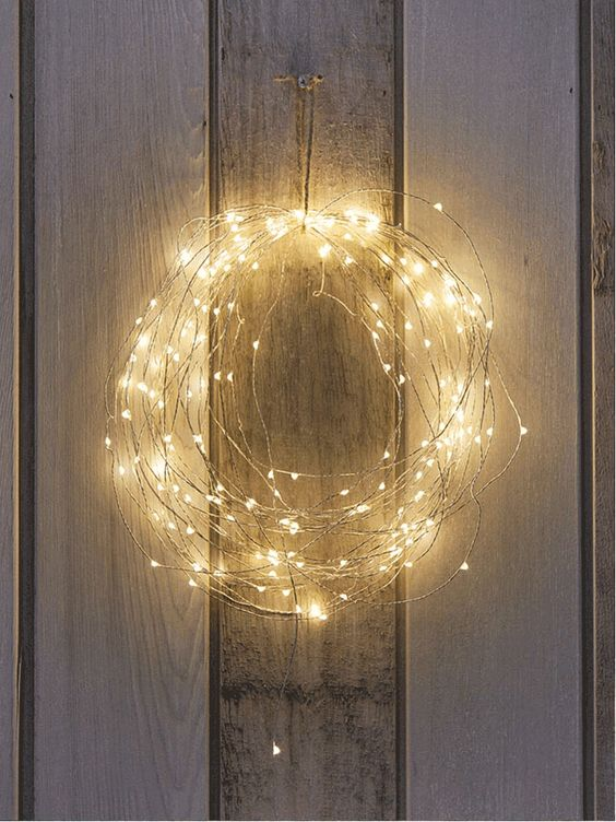 Naked Wire Lights made into wreath. Christmas: