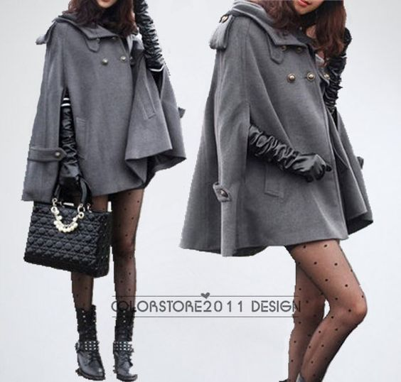grey cape Wool Cape Cashmere coat double breasted button coat