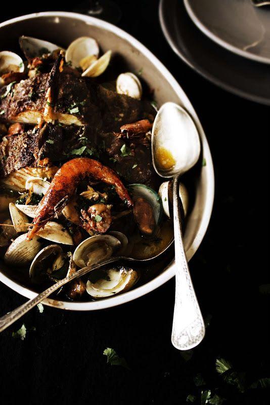 Bacalhau no forno com marisco
