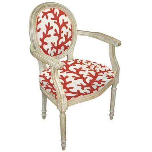 Coral Print · Red Patterned Upholstered Chair