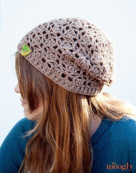 Fabulous free slouchy crochet hat pattern. Fallen Leaves Slouch Hat ...