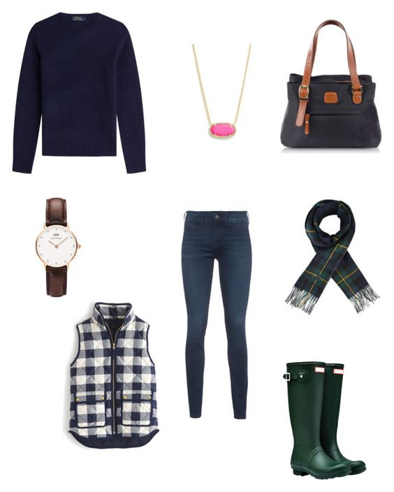 """Untitled #147"" by waspforlife ❤ liked on Polyvore featuring Polo Ralph Lauren, MiH Jeans, Bric's, J.Crew, Hunter, Kendra Scott and Daniel Wellington"