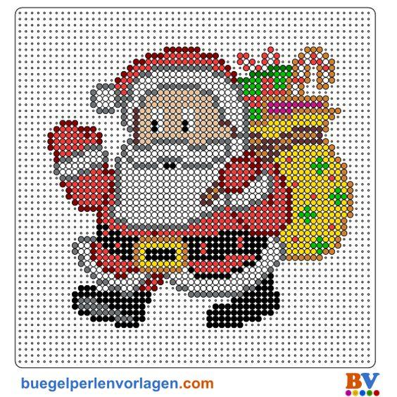 Weihnachtsmann Bügelperlen Vorlage - perler bead pattern