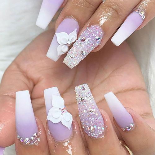100 Charming Purple Nail Art Designs For Trendy Women In 2020 With Images Lavender Nails Purple Acrylic Nails Best Acrylic Nails