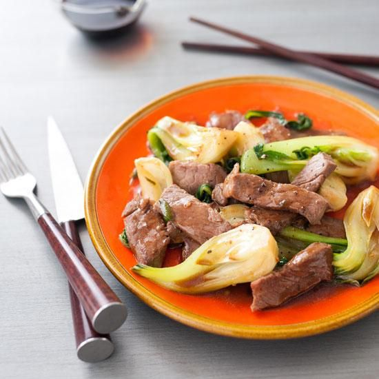 Stir-Fried Sirloin with Ginger and Bok Choy | Try this quick and easy beef stir-fry for a satisfying weeknight meal.