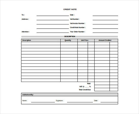 ... Credit Note Template Excel Templates Pinterest Credit Note   Payslip  Format Download ...  Credit Note Form