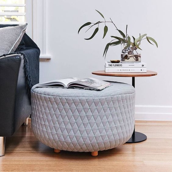 Coco ottoman and Zoe side table: