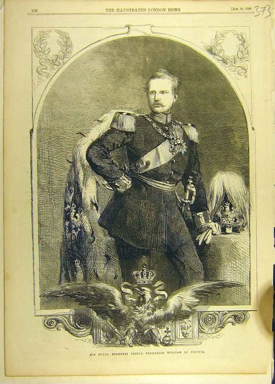 1858 portrait of HRH Prince Frederick William of Prussia