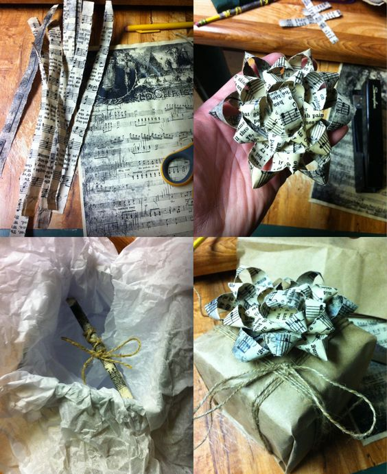 Christmas wrapping I did! Printed dbl sided xmas music images on copy paper, stained with coffee, made in to a bow and note, wrapped in a grocery bag and twine for a rustic look...
