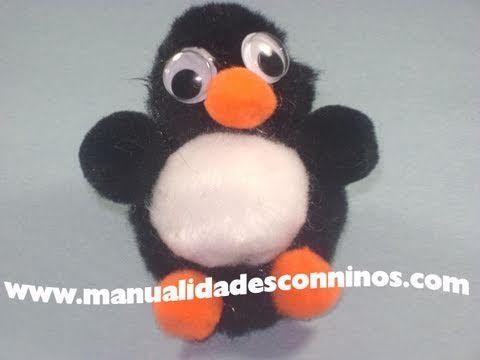 Manualidades con pompones pinguino pompones pinterest - Manualidades con pompones ...