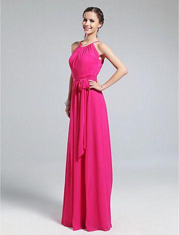 Sheath/Column Jewel Floor-length Chiffon Bridesmaid Dress - USD $ 97.99