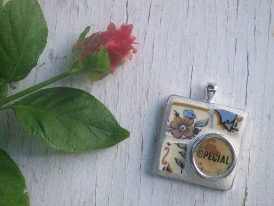 Typewriter key pendant - CHOOSE ONE  - mosaic jewelry - mosaic pendant - shabby chic pendant - boho - myott staffordshire - gift idea