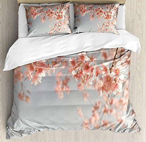 Big Buy Store Peach Duvet Cover Set Japanese Scenery Sakura Tree Cherry Blossom Nature Photography Coming Of Spring Spring Bedding Sets Duvet Cover Sets Bed