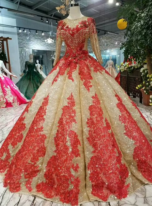 Gold Ball Gown Sequins Red Lace Appliques Long Sleeve Wedding