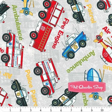 Help Is On The Way Gray Large Vehicles All Over Yardage <br/>SKU# 82472-931