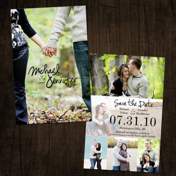 Double sided cardstock Save the DateAnnouncement – Cheap Wedding Save the Date