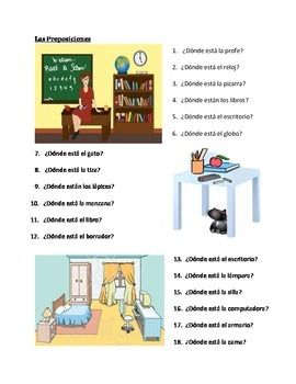 Pictures Spanish Prepositions Worksheet - pigmu