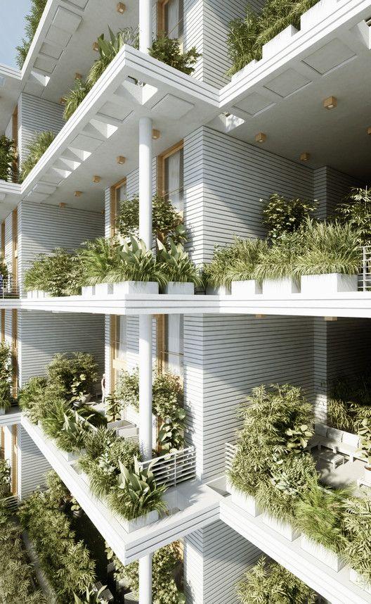 Penda diseña villas en altura con jardines verticales para Hyderabad,Cortesía de Penda