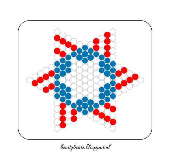 Beady Beads - Star 3f. Perler / Hama / Fusion / Melty / Pyssla Beads. Free Pattern Card! Visit my blog for more free patterns.