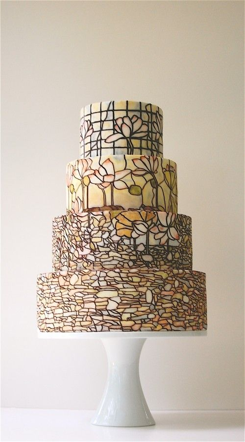 Tiffany Lamp style cake from Maggie Austin Cake in DC.  Ridiculously gorgeous, and just a HINT of their work.