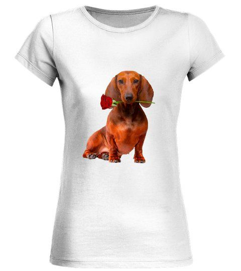 Dachshund Brown With A Rose Round Neck T Shirt Woman Shirts
