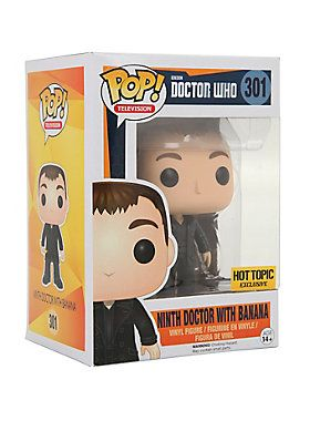 "<p>Ninth Doctor With Banana is given a fun, and funky, stylized look as an adorable collectible vinyl figure!<br /> <br /> Hot Topic exclusive!</p>  <ul> 	<li>3 3/4"" tall</li> 	<li>Vinyl</li> 	<li>Imported</li> </ul>"