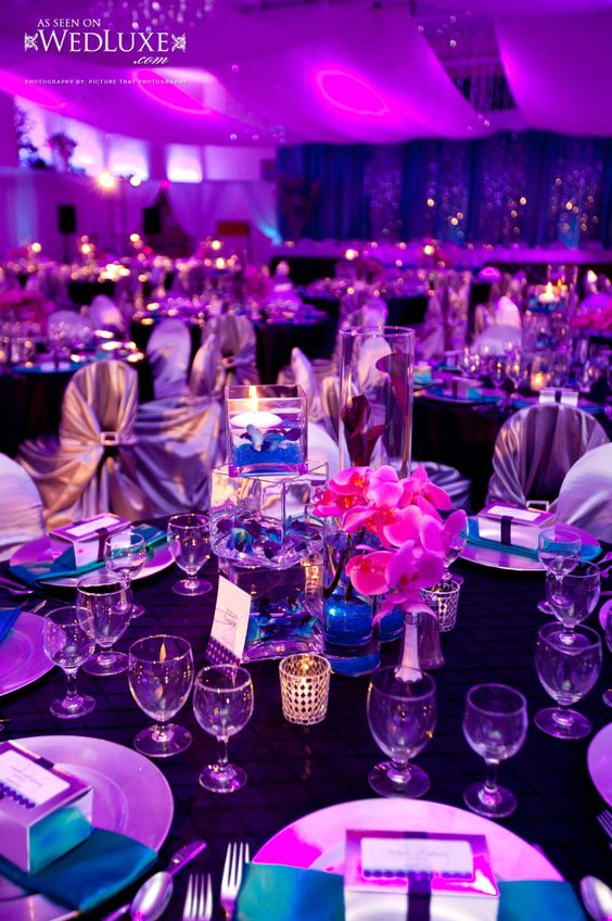 Purple & blue  #Purple wedding receptions ... Wedding ideas for brides, grooms, parents & planners ... https://itunes.apple.com/us/app/the-gold-wedding-planner/id498112599?ls=1=8 … plus how to organise an entire wedding, without overspending ♥ The Gold Wedding Planner iPhone App ♥