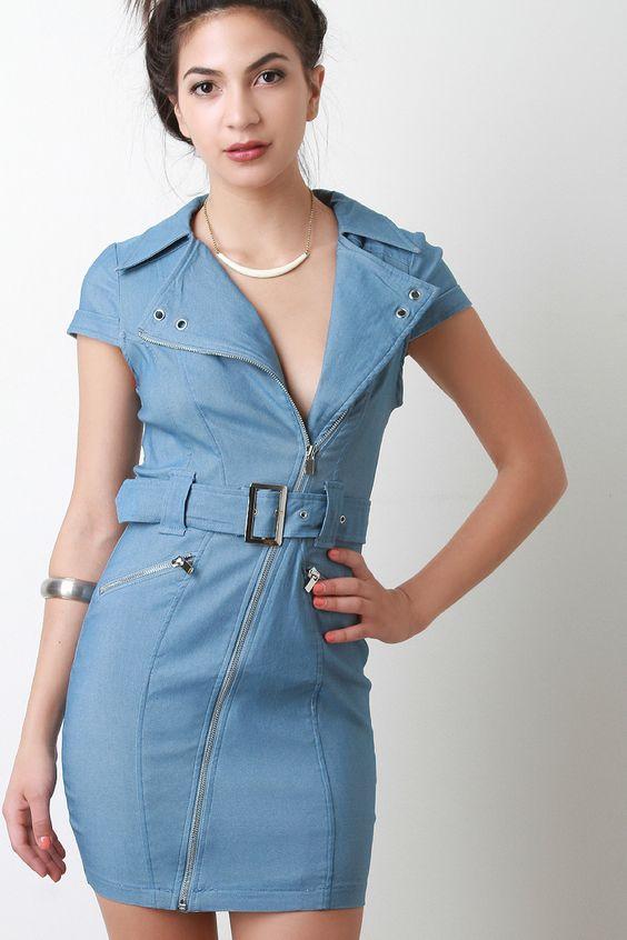 Chambray Belted Bodycon Dress | UrbanOG