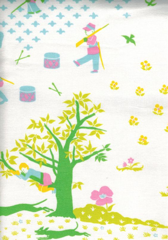 Nursery rhymes cotton fabric curtain panel french 70s for Retro nursery fabric