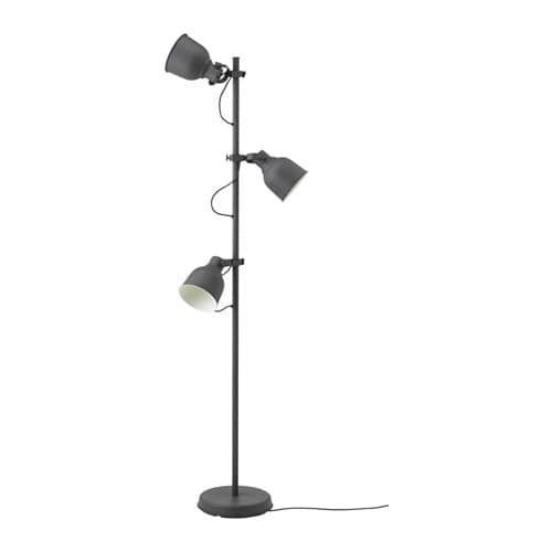 HEKTAR Floor lamp w3 spots and LED bulbs dark gray