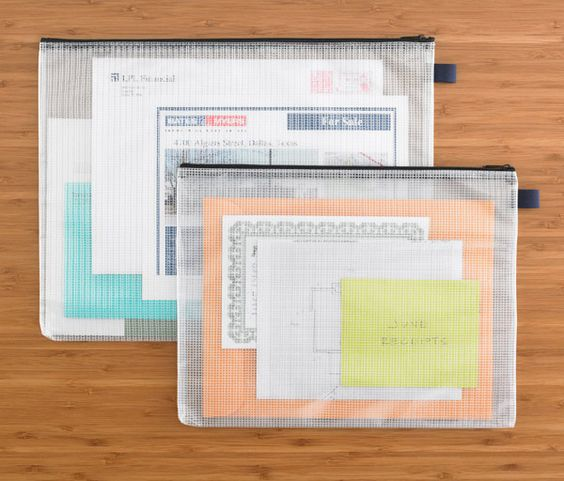 These Zippered Vinyl & Mesh Pouches are particularly useful in transporting or storing papers & references related to ongoing projects, alleviating any worry about the contents getting wet