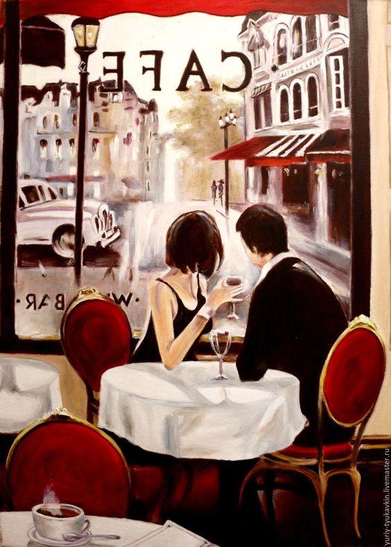 """Купить """" Кафе в Париже """" - бордовый, большая картина, огромная картина, картина…"""