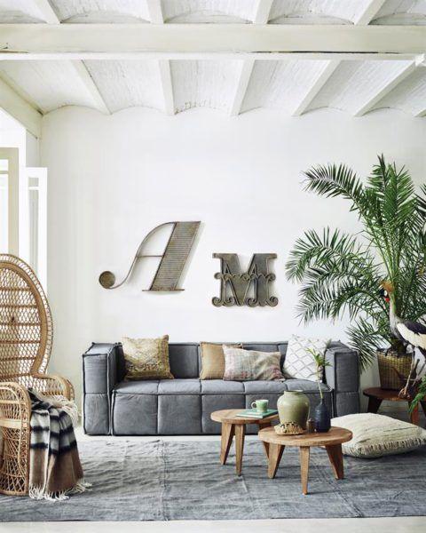 HKliving collection 2017 soul inside - grey sofa, canapé gris, fauteuil rotin emmanuelle, Emmanuelle rattan armchair
