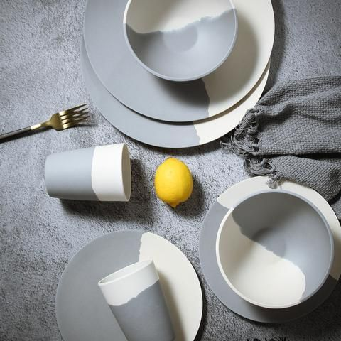 Lekoca Bamboo Tableware Set Gray And White In 2020 Tableware Set Bamboo Tableware Dinnerware Set