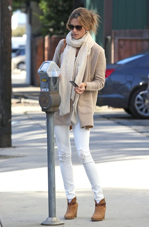 Wanting to wear winter neutrals like Alessandra Ambrosio all season long.: